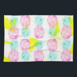 "Tropical pink mint green yellow pineapples pattern towel<br><div class=""desc"">A modern exotic and tropical Hawaiian pineapples pattern with hand drawn bright pink,  mint green watercolor pineapples fruits on a vivid neon yellow abstract brush strokes pattern. A splash of color with this fun fruity pattern for a stylish and fresh summer</div>"