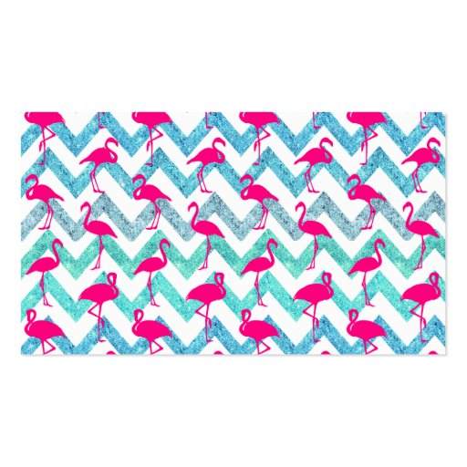 tropical pink neon flamingos teal glitter chevron business card template - Chevron Business Card