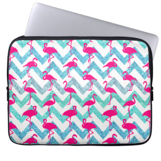Tropical Pink Neon Flamingos Teal Glitter Chevron Laptop Sleeve