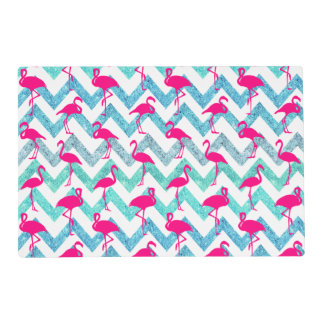 Tropical Pink Neon Flamingos Teal Glitter Chevron Placemat