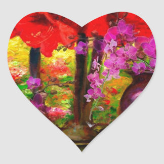 TROPICAL PINK ORCHIDS RED AMARYLLIS STILL LIFE HEART STICKER