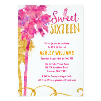 Tropical Pink Palm Tree Faux Gold Glitter Sweet 16 Card