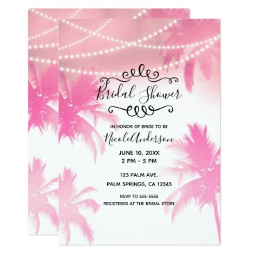 Beach Themed Tropical Pink Palm Trees & Lights Bridal Shower Card