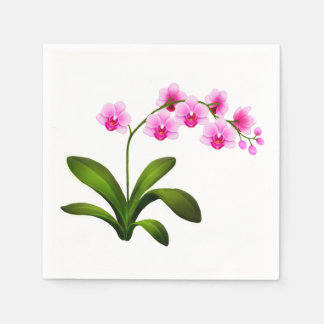 Tropical Pink Phalaenopsis Orchid Flowers Napkins