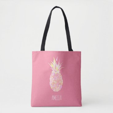 Beach Themed Tropical Pink Pineapple Personalized Beach Tote