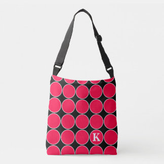 Tropical Pink Polka Dot on Black Monogram Crossbody Bag