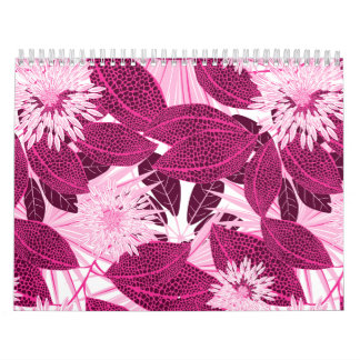 Tropical pink spotted floral calendar
