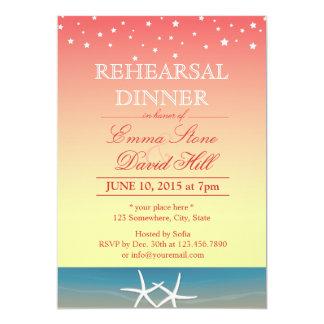 Tropical Pink Summer Beach Rehearsal Dinner Card