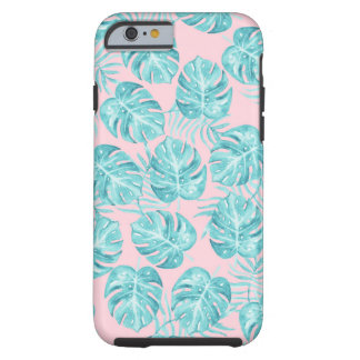Tropical pink teal watercolor monster leave floral tough iPhone 6 case