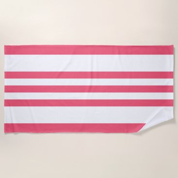 Beach Themed Tropical Pink & White Stripes Beach Towel