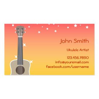 Tropical Pink & Yellow Sky Ukulele Artist Business Cards