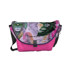 Tropical Plant Mirrored Pattern Messenger Bag