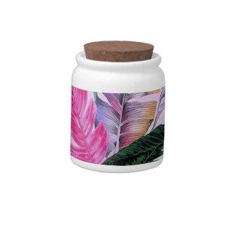 Tropical Plant Pattern Candy Jar