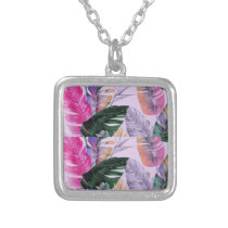 Tropical Plant Pattern Silver Necklace