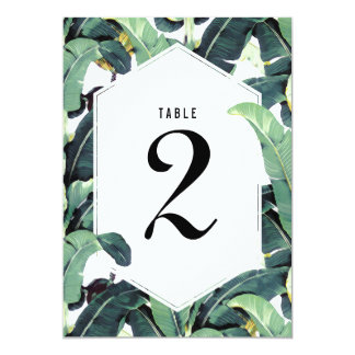 Tropical Plantation Wedding Table Number Card