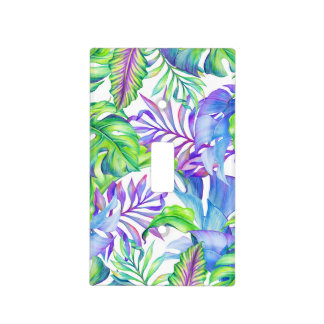 Tropical Plants Yellow Pink Green Blue Lavender Light Switch Cover
