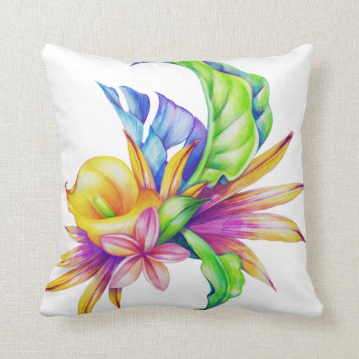 Blue And Lavender Throw Pillows : Tropical Plants Yellow Pink Green Blue Lavender Throw Pillow Zazzle