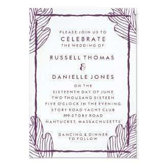 Tropical Plum Leaf Modern Wedding Invitation
