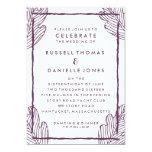 Tropical Plum Leaf Modern Wedding Invitation