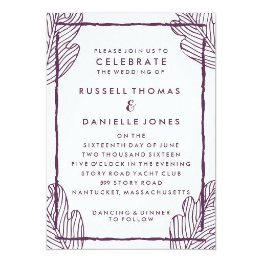 """Tropical Plum Leaf Modern Wedding Invitation 5"""" X 7"""" Invitation Card"""