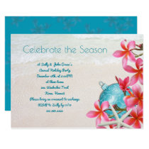 Tropical Plumeria Beach Holiday Party Invitations
