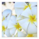 """Tropical Plumeria Cascade Invitation 5.25"""" Square Invitation Card"""