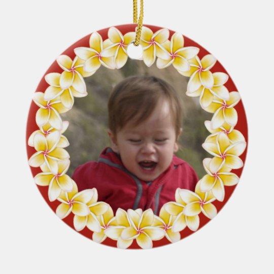 Tropical Plumeria Lei Photo Ornament