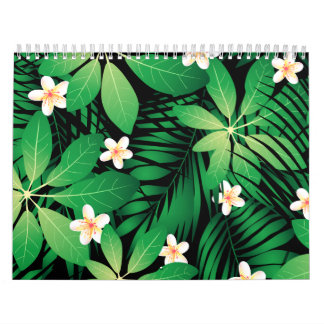 Tropical plumeria lush forest calendar