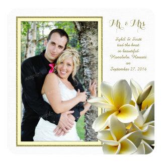 Tropical Plumeria Private Wedding Announcement