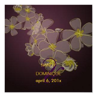 Tropical/plumerias/destination wedding 5.25x5.25 square paper invitation card