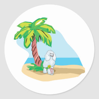 tropical poodle classic round sticker
