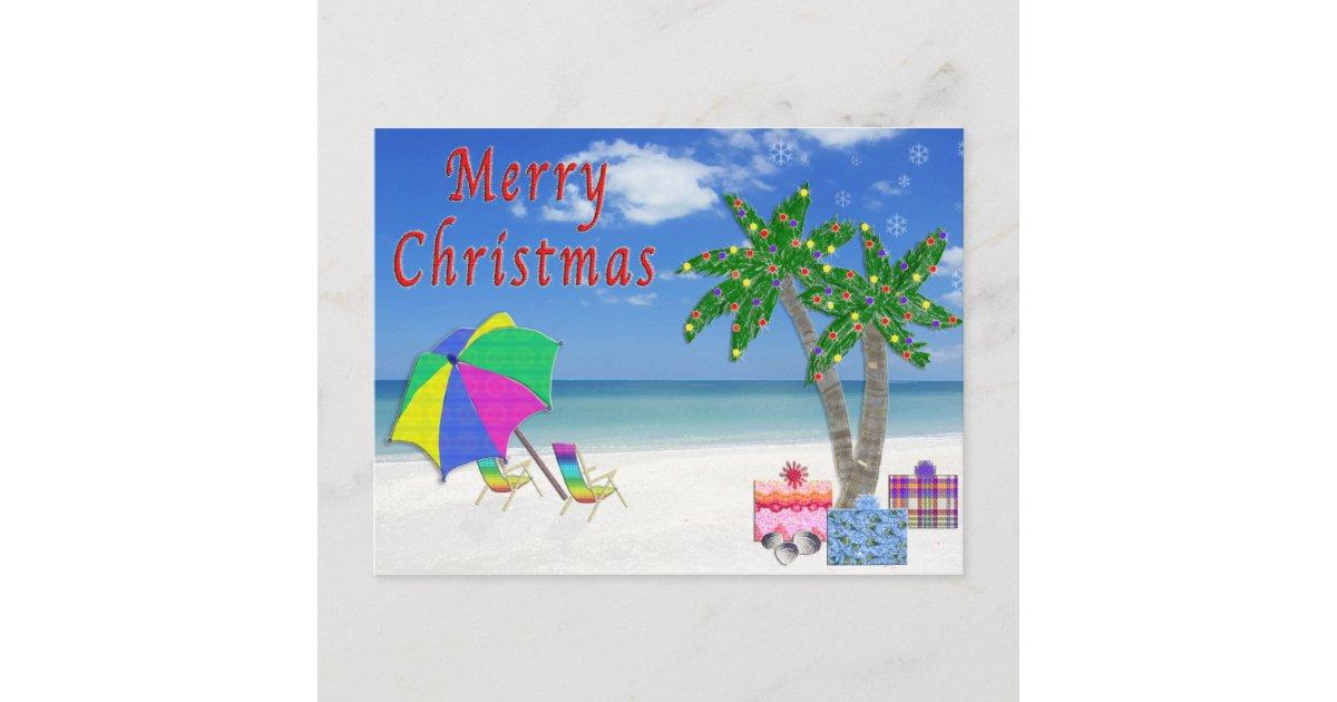 Tropical Postcards Christmas Beach Cards | Zazzle.com