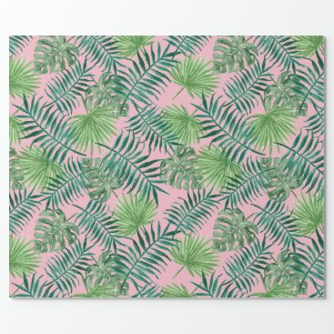 Beach Themed Tropical Print - Palm Trees Pink Wrapping Paper