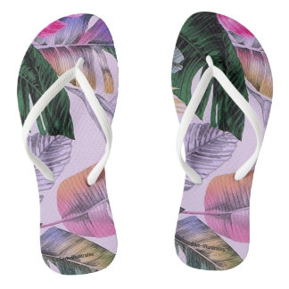 Tropical Print Pattern Women's Flip Flops