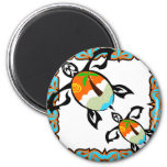 Tropical-print-turtle 2 Inch Round Magnet