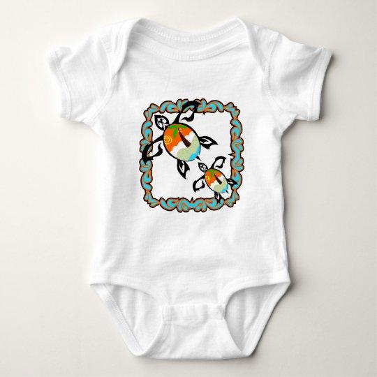 Tropical-print-turtle Baby Bodysuit