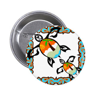 Tropical-print-turtle 2 Inch Round Button