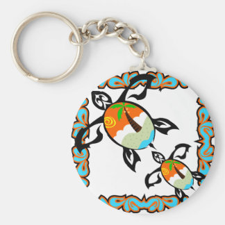 Tropical-print-turtle Key Chains