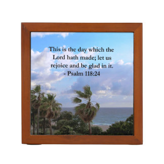 TROPICAL PSALM 118:24 OCEAN AND PALM TREES DESK ORGANIZER