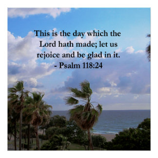 TROPICAL PSALM 118:24 OCEAN AND PALM TREES POSTER