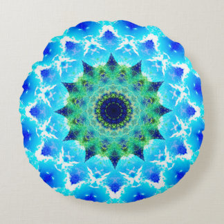 Tropical Pulsar Star Mandala Round Pillow