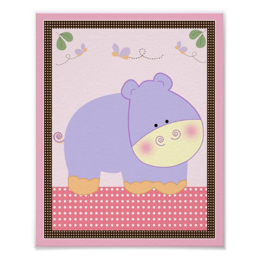 Tropical Punch/Hippo Nursery Art Poster