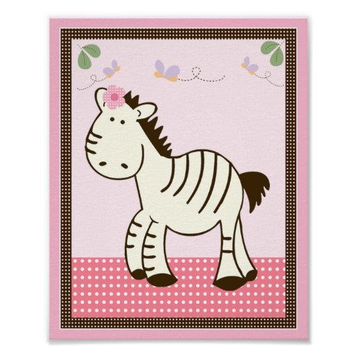 Tropical Punch/Zebra Nursery Art Poster