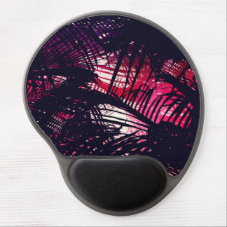 Tropical Purple and Red Sunset Palm Fronds Gel Mouse Pad