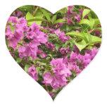 Tropical Purple Bougainvillea Flowers Heart Sticker