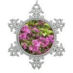 Tropical Purple Bougainvillea Snowflake Pewter Christmas Ornament