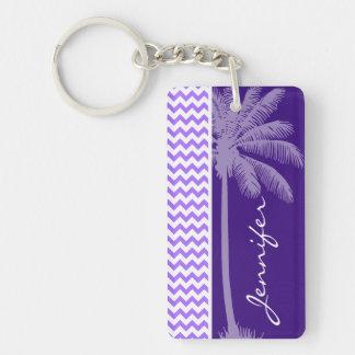 Tropical Purple Chevron Double-Sided Rectangular Acrylic Keychain