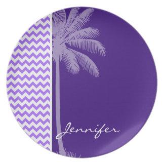 Tropical Purple Chevron Party Plate