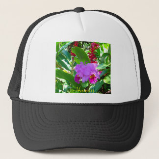 Tropical Purple Hawaiian Flower Trucker Hat