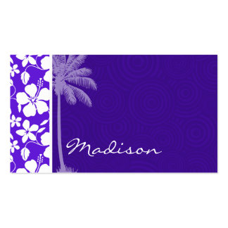 Tropical Purple Hibiscus Business Card Template